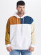 Plus Size Mens Color Block Patchwork Casual Drawstring Hoodies - White