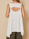 Asymmetrical Embroidery Calico Backless Casual Tank Tops - White