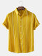 Mens Striped Lapel Button Up Casual Short Sleeve Shirt - Yellow