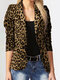 Leopard Print Long Sleeves Button Lapel Jacket Suit with Shoulder Pad - Yellow