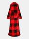 Striped Pattern Fleece Hoodies Blanket With Sleeves Outdoor Warm Soft Hoodie Front Pocket Hedging TV Flannel Blanket - Red