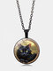 Vintage Glass Printed Women Necklace Stay Cute Black Cat Pendant Necklace Jewelry Gift - Black