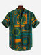 Mens Ethnic Style Printed Cotton Breathable Summer Short Sleeve Buttons Fly Henley Shirts - Green