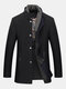 Mens Wool Detachable Scarf Mid Long Trench Coats Business Casual Stylish Coat Slim Fit Jackets - Black