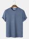Mens Plain Texture Knitted Waffle Short Sleeve T-Shirt - Blue