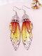 Vintage S925 Sterling Silver Butterfly Long Cicada Wings Gradient Earrings - 13
