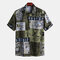 Mens Ethnic Style Funny Printing Short Sleeve Casual Loose Designer Shirt