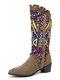 Women Casual Retro Elegant Geometric Pattern National Style Mid-Calf Boots - Khaki