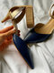 Women Large Size Fashion Pointed Toe Sandals Colorblock Backless Ankle Band Hook Loop Heels - Blue