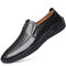Men Woven Cow Leather Hand Stitching Driving Casual Loafers - Black