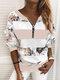 Vintage Printed Long Sleeve V-neck Zip Front Sweatshirt For Women - Pink