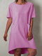 Casual Solid Color Short Sleeve Plus Size Dress with Pockets - Pink
