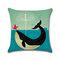 سلحفاة البحر السلحفاة الحوت القطن الكتان غطاء وسادة الكرتون لون الماء مطبوعة ساحة المخدة
