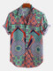 Mens Ethnic Printed Breathable Short Sleeve Loose Casual Shirt - Green