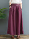 Floral Embroidered Pocket Long Casual Loose Pants for Women - Purple