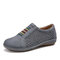 LOSTISY Stitching Round Toe Elastic Band Hollow Out Slip On Casual Flats - Gray