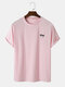 Mens Coconut Tree Embroidery Crew Neck Casual Short Sleeve T-Shirt - Pink