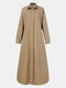Solid Color Button Long Sleeve Casual Dress for Women - Khaki