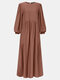 Women Ethnic Solid Color Patchwork Puff Sleeves Casual Dress - Khaki