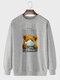 Mens Cartoon Bear Letter Printed 100% Cotton Casual Pullover Sweatshirts - Gray