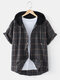 Mens Vintage Plaid Print Button Front Casual Short Sleeve Hooded Shirt - Gray