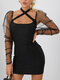 Backless Knotted Mesh Patchwork Long Sleeve Halter Mini Sexy Dress - Black