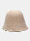 Women Woolen Cloth Solid Color Knitted Casual Warmth Bucket Hat - Apricot