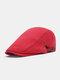 Men Cotton Solid Color Casual All-match Beret Flat Cap - Red
