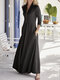 Solid Color Long Sleeves Lapel Collar Casual Zipper Dress For Women - Black