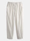 Mens Breathable Lightweight 100% Cotton Multi Pockets Casual Yoga Pants - White