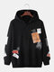Mens Letter Tag Print Cotton Casual Loose Fit Drawstring Pullover Hoodies - Black