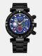 Multifunctional Men Business Watch Luminous Chronograph Calendar Quartz Watch - Black Case Blue Dial Black Band