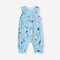 Baby Cartoon Print Sleeveless O-neck Casual Blue Rompers For 6-24M - Blue