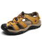 Large Size Men Anti-collision Toe Outdoor Slip Resistant Leather Hiking Sandals - Yellow Brown