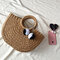 Women Straw Handbag Woven Plush Ball Beach Bag