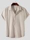 Plus Size Mens Cotton Solid Concealed Placket Plain Casual Short Sleeve Shirts - Apricot