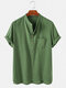 Mens 100% Cotton Solid Casual Stand Collar Henley Shirts - Green