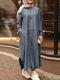 Striped Split Hem Plus Size Casual Dress with Pockets - Navy