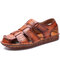 Men Retro Cow Leather Non Slip Soft Sole Hook Loop Casual Sandals - Brown