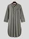 Long Sleeve Henley Shirt Design Chest Pokcets Sleepwear Loungewear Robe for Men - Grey