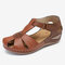 LOSTISY Women Flower Hollow Breathable Non Slip Beach Casual Wedges Sandals - Camel