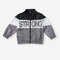 Boy's Letters Print Contrast Color Zipper Casual Coats for 2-8Y - Gray