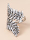 Alloy Vintage Ethnic Opening Leaf Ring - Silver