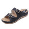 Buckle Decoration Opened Toe Slip On Summer Casual Sandals - Black