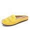 LOSTISY Suede Breathable Hollow Out Solid Color Casual Backless Loafers - Yellow