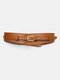 Women Leather Solid Color Pin Buckle Fashion Decorative Wide Belt - Brown
