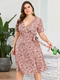 Floral Print Knotted Plus Size Holiday Dress for Women - Pink
