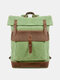 Men Genuine Leather Canvas Patchwork Outdoor Waterproof Mountaineering Backpack - Green 1