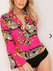 Women Sexy Print Turn-down Collar Long Sleeve Blouse Rompers  - Rose