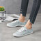 Women Large Size Breathable Canvas Non Slip Lace-Up Flat Court Sneakers - Light Grey